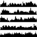Cities and castles silhouettes skyline set Royalty Free Stock Photo
