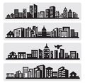 Cities silhouette icon Stock Photos