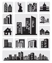 Cities silhouette icon Stock Images