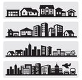 Cities silhouette icon Royalty Free Stock Photo