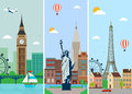 stock image of  Cities skylines design with landmarks. London, Paris and New York cities skylines design with landmarks. Vector