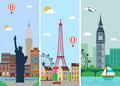 Cities skylines design with landmarks. London, Paris and New York cities skylines design with landmarks. Vector Royalty Free Stock Photo