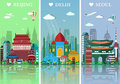Cities skylines set. Flat landscapes vector illustration. Beijing, Delhi and Seoul cities skylines design with landmarks