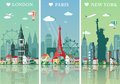 Cities skylines set. Flat landscapes vector illustration. London, Paris and New York cities skylines design with landmarks Royalty Free Stock Photo