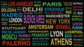 Cities of the world, travel destinations word cloud concept Royalty Free Stock Photo