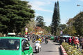 Citizen ride motorbike in rush hour dalat viet nam march wear helmet move on streets by at Stock Photo