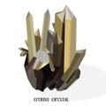 Citrine shiny bright crystal.Yellow quartz crystal.  on white background vector iluustration Royalty Free Stock Photo