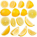 Citron multiple sur le fond blanc d'isolement Photographie stock libre de droits