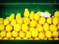 Citrons lemons citrus stack at a farmers market Stock Images