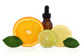 Citrus aromatherapy essential oil bottle with lemon lime and orange fruit with leaf sprigs over white background Stock Photography