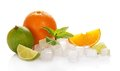 Citrus and cubes of ice Royalty Free Stock Photo