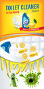 Citrus fragrance toilet cleaner ads. Cleaner bobs kill germs inside toilet bowl. Vector realistic illustration. Vertical banner.