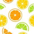 Citrus fruits juicy slices. Lemon, grapefruit, lime, orange. seamless pattern