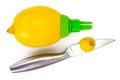 Citrus juice sprayer and lemon Royalty Free Stock Photo