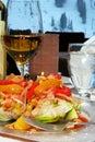 Citrus salad and wine Royalty Free Stock Photo