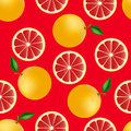 Citrus seamless pattern with grapefruits fruity texture on red background Royalty Free Stock Images