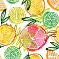 citrus seamless pattern. Hand drawn fresh tropical plant waterecolor illustration.