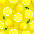 Citrus seamless pattern with lemons fruity texture on yellow background Royalty Free Stock Photos