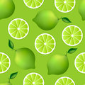 Citrus seamless pattern with limes fruity texture on green background Royalty Free Stock Image
