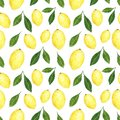 Citrus seamless pattern made of lemons. Hand drawn watercolor illustration