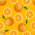 Citrus seamless pattern with oranges fruity texture on orange background Stock Photo