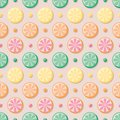 Citrus slices seamless vector pattern with colorful dots