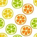 Citrus slice seamless pattern. Lemon, lime, orange and mandarin. Sweet exotic tropical fruits. Fashion design. Food print for