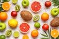 Citrus sliced fruits background flat lay, healthy vegetarian organic food