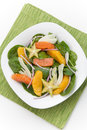 Citrus spinach salad baby with star fruit and fennel Royalty Free Stock Photo