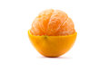 Citrus tangerine orange fruit isolated on white background half peel Stock Photo