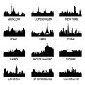 City ​​silhouette vector set of silhouettes of a of peace Royalty Free Stock Photos