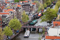 City of amsterdam cityscape from above prinsengracht street and leliesluis bridge over canal jordaan district holland the Stock Image
