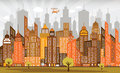 City in autumn vector illustration of retro colors Royalty Free Stock Photography