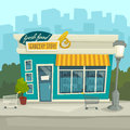 City background with shop building, vector cartoon illustration Royalty Free Stock Photo