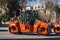 The city of Baku, the Republic of Azerbaijan. 17 April 2017 Close-up view on the road roller working on the new road construction