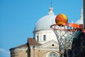 City basketball with the landscape on the bottom of santa giustina captured in padova italy Stock Image