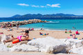 City beach of Cannes, Cote dAzur, France Royalty Free Stock Photo