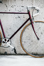 City bicycle and concrete wall, vintage style Royalty Free Stock Photo