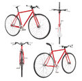 City bicycle fixed gear from four view on white Stock Photo