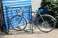 City bicycle fixed gear and red brick wall vintage bike retro stylish cycling in town Stock Photos