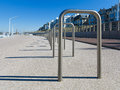 City bicycle parking empty row of at scheveningen Royalty Free Stock Photography