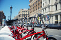 City bicycles for rent parked in barcelona Royalty Free Stock Photos