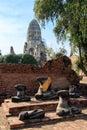 City building remain buddha statue remain of wat phra sri sanphet temple in ayutthaya thailand phra nakhon si ayutthaya x Stock Photography