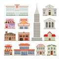 City Buildings Decorative Icons Set Royalty Free Stock Photo