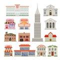 City Buildings Decorative Icons Set Royalty Free Stock Photo