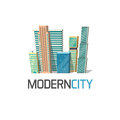 City buildings logo isolated, town construction concept, modern skyscrapers Royalty Free Stock Photo