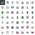 City buildings and transportation filled outline icons set Royalty Free Stock Photo