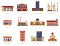 City buildings vintage icons set Royalty Free Stock Photo