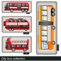 City bus collection illustration of different types of Royalty Free Stock Images