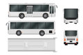 City bus template. Passenger transport all sides view from top, side, back and front. Vector illustration eps 10 isolated on white Royalty Free Stock Photo